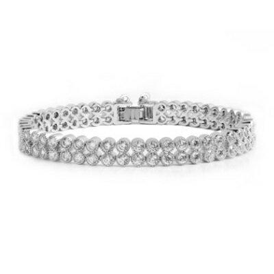 ~純銀手鍊 鍍白金鑲鑽手環~ 華麗耀眼生日情人節 女飾品73cv61~ ~~米蘭 ~