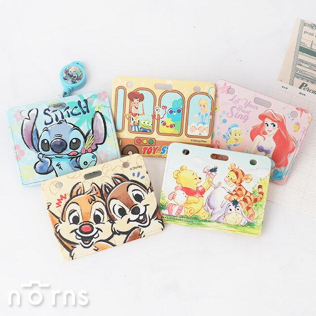迪士尼硬殼滑推式票卡夾 附易拉扣 - Norns 正版授權 票夾證件套 維尼 愛麗絲 史迪奇 玩具總動員