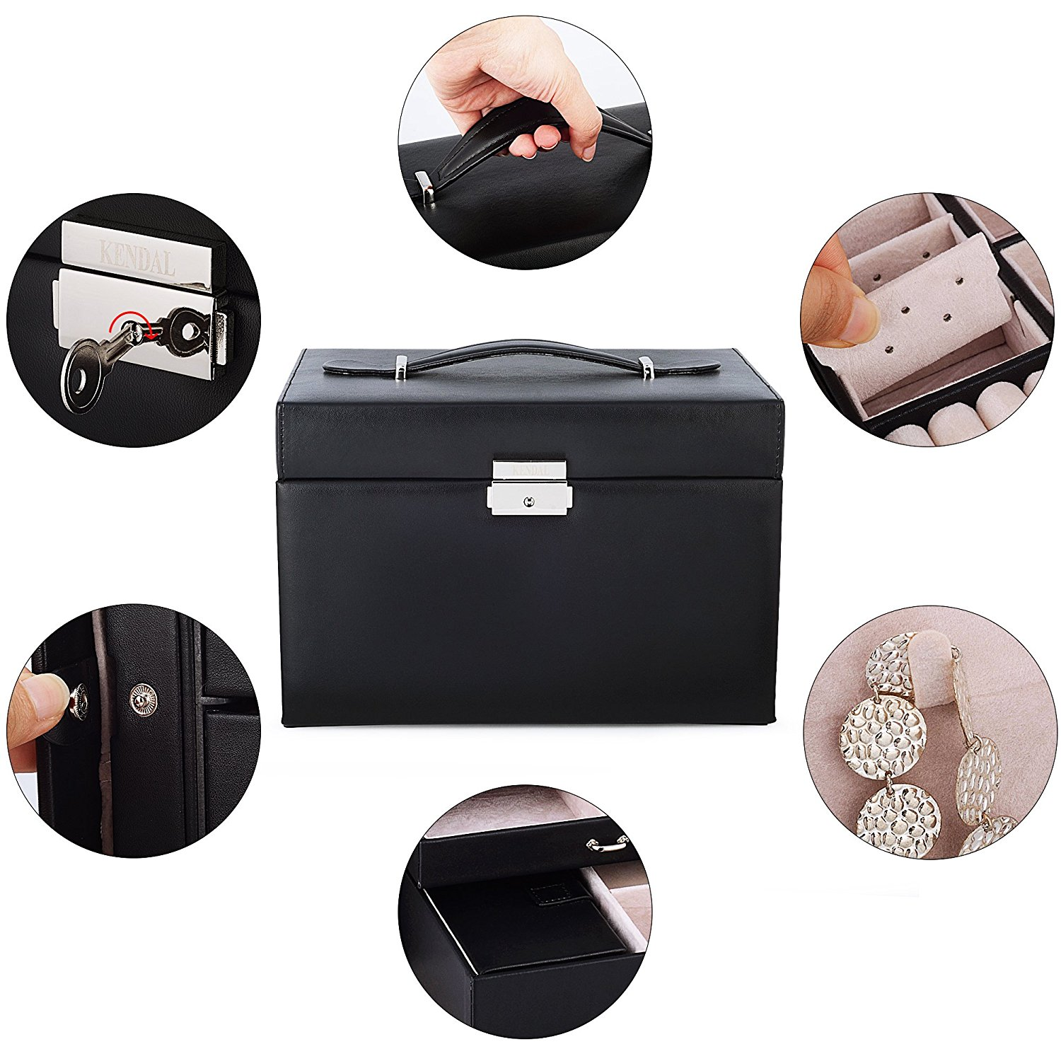 New Shining Image Kendal Black Leather Jewelry Box Case Storage Tote Green Organizer With Travel And Lock