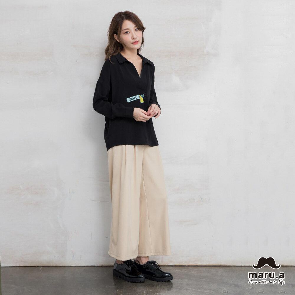 【maru.a】烏龜躲貓貓刺繡低領襯衫(2色)7923114 5