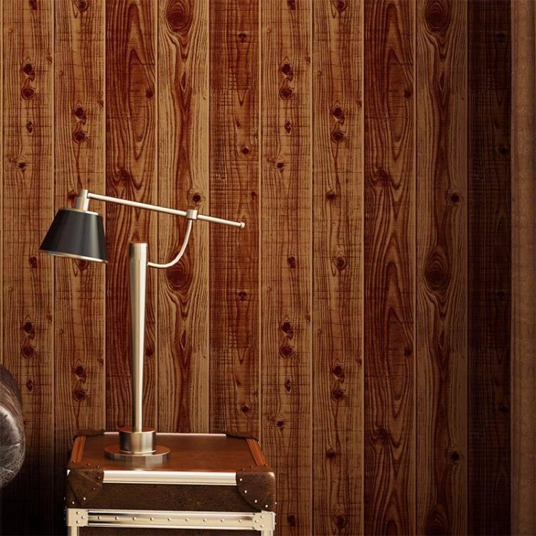 【限時結帳領券現折30】仿真3d立體新品木板墻紙木紋中式復古懷舊壁紙服裝店咖啡廳背景墻