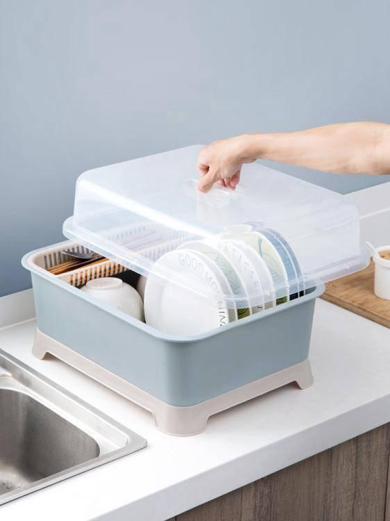 【限時結帳領券現折30】帶蓋碗碟架放碗架收納盒瀝水架裝碗筷收納箱廚房碗櫃置物架