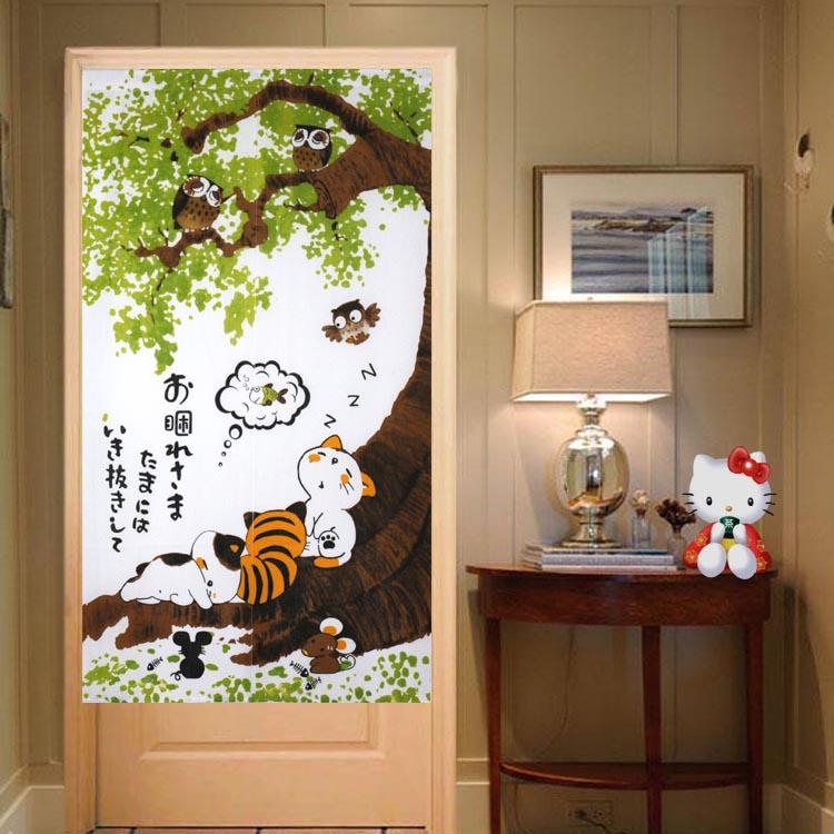 日式門簾/ 風水門簾/ 布藝隔斷簾中式門簾(85*150cm)【綠居布屋】小黃貓