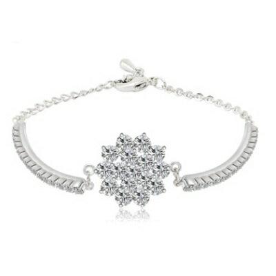 ~純銀手鍊 鍍白金鑲鑽手環~ 奢華 生日情人節 女飾品73cv50~ ~~米蘭 ~