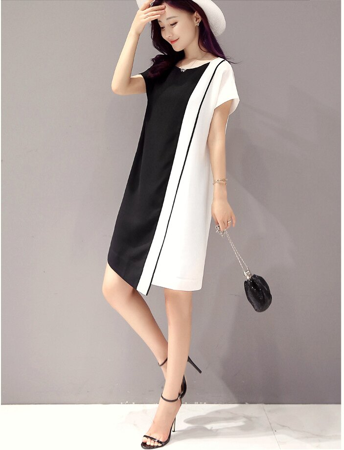 經典時尚.黑白撞色拼接短袖連身裙- shiny藍格子【V2829】 5