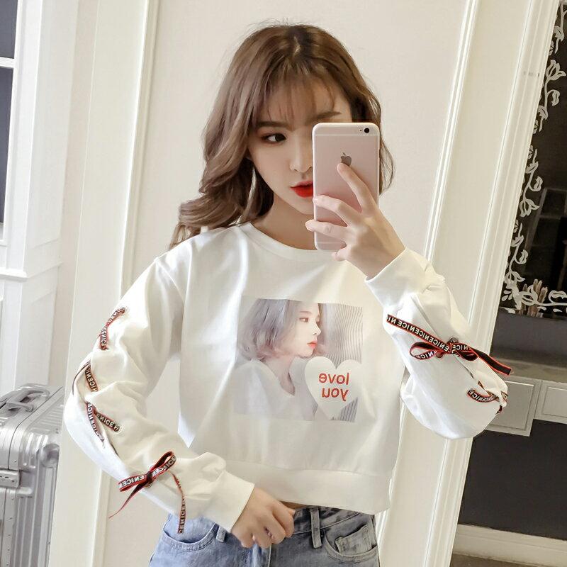 高腰衛衣女2019秋裝新款韓版學生寬松百搭綁帶印花小個子短款上衣1入