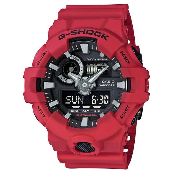 CASIO G-SHOCK GA-700-4A金屬感雙顯時尚腕錶/53.4mm