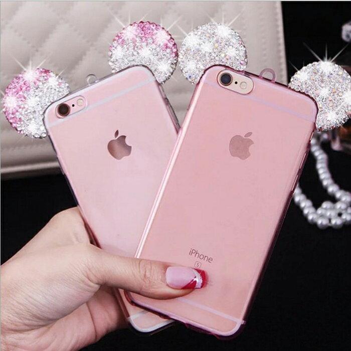 tangyizi輕鬆購【DS122】米奇耳朵 造型 apple iphone6s 米老鼠 透明 手機殼 保護殼套 軟殼 帶掛繩
