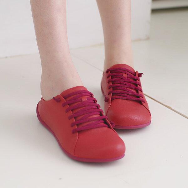 懶人鞋休閒鞋磚紅女鞋真皮平底鞋【SV9670】HappyLife
