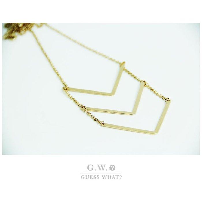 G.W.GUESSWHAT 金色 幾何圖形 箭頭 三橫條 長款 氣質 項鍊 簍空 垂墜