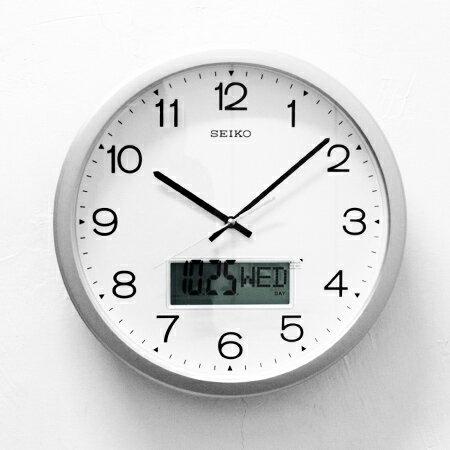 SEIKO精工時鐘 銀色外框指針/液晶雙顯功能掛鐘 滑動式靜音秒針 柒彩年代【NG1731】原廠公司貨