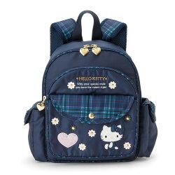 【真愛日本】17121300019 輕量護脊後背包S-緞帶格花靛藍ABQ 三麗鷗家族   KITTY  背包 書包