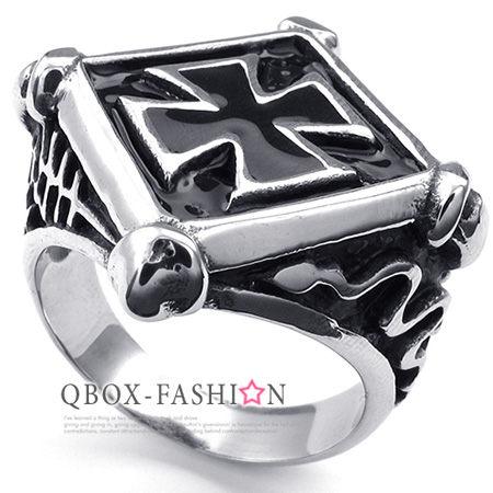 《 QBOX 》FASHION 飾品【W10023539】精緻個性特殊菱形十字架鑄造316L鈦鋼戒指/戒環