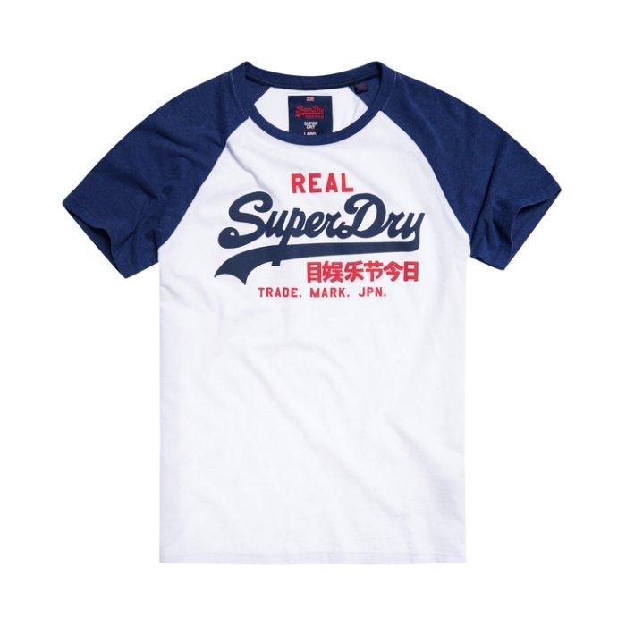 美國百分百【全新真品】Superdry 極度乾燥 T恤 上衣 T-shirt 短袖 棒球Tee 復古 深藍白 M L號 I193