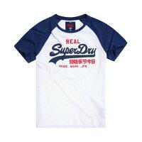 Superdry極度乾燥-男T恤推薦到美國百分百【全新真品】Superdry 極度乾燥 T恤 上衣 T-shirt 短袖 棒球Tee 復古 深藍白 M L號 I193就在美國百分百推薦Superdry極度乾燥-男T恤