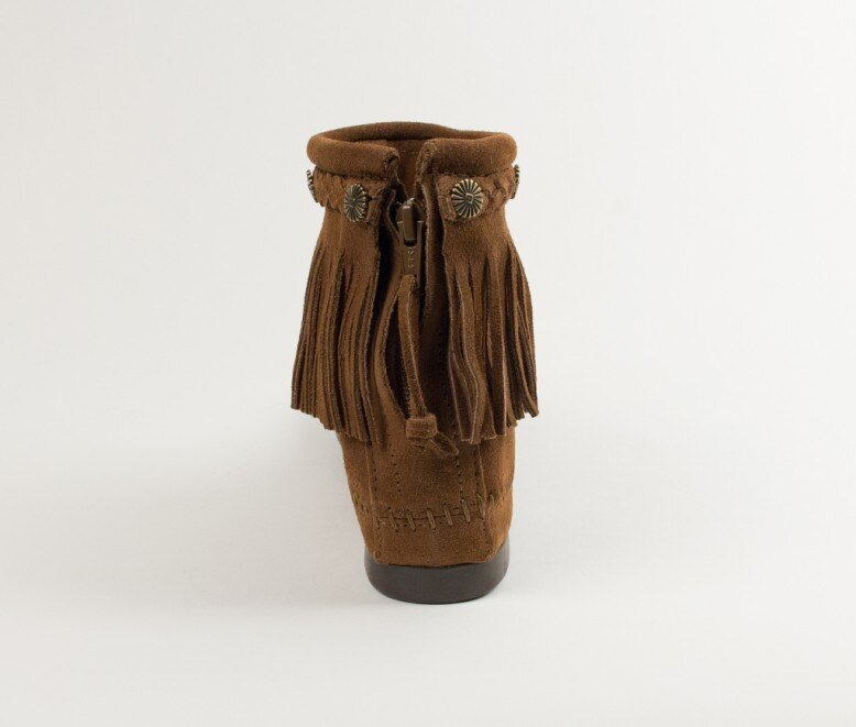 【Minnetonka 莫卡辛】深棕色 - 麂皮後拉鍊流蘇莫卡辛短靴 5