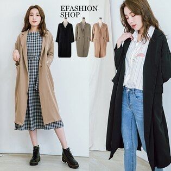 風衣外套-單扣蓋口袋長版風衣式雪紡外套-eFashion預【J12911900】