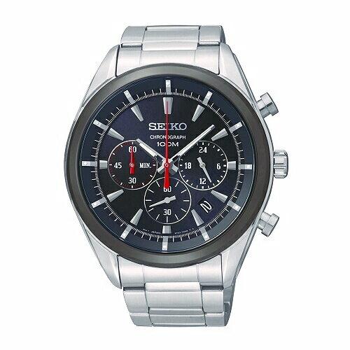 SEIKOCS潮流運動風格三眼計時腕錶黑面44mmSSB089P1(6T63-00H0D)