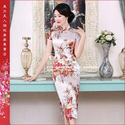 東方美人旗袍唐裝專賣店 櫻花紛飛(白色)。仿絲軟緞印花時尚短袖長旗袍