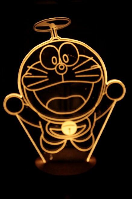 LED  3D立體燈 多拉A夢 木質底座 小夜燈 氣氛燈 燈 USB 生日 聖誕