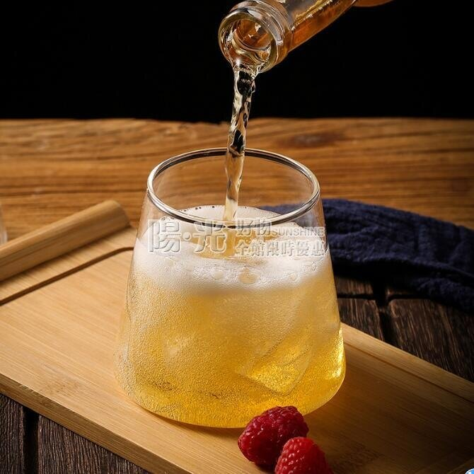 酒杯 日式富士山玻璃杯威士忌杯啤酒杯水晶果汁杯子家用ins風網紅北歐