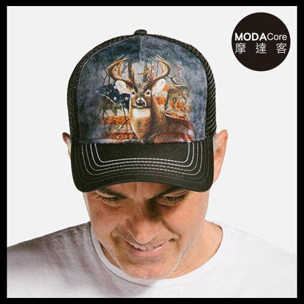 【摩達客】(預購)美國進口TheMountain愛國雄鹿藝術棒球帽網帽5-Panel新五分割帽