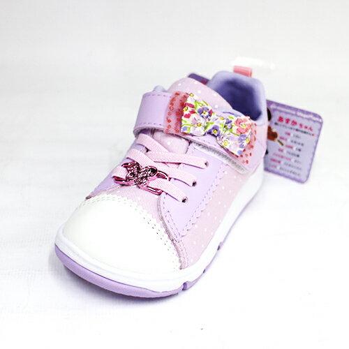 15CM~Moonstar日本機能寬楦矯正鞋運動鞋魔鬼氈童鞋布鞋CRC22129蝴蝶結粉[陽光樂活]