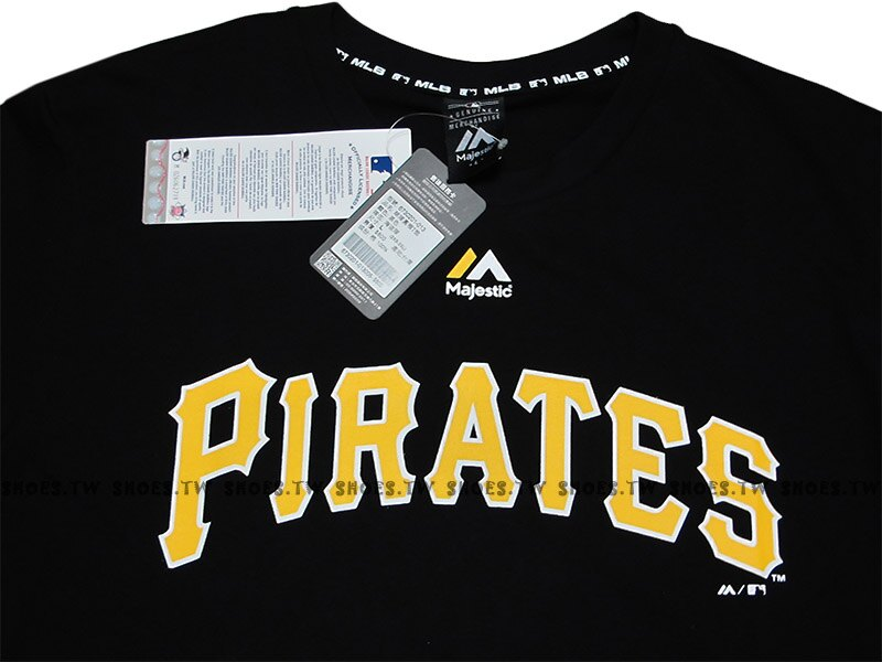 Shoestw【6730201-013】MLB 美國大聯盟 MAJESTIC 短袖 棉 T恤 海盜隊 LOGO 黑色 1