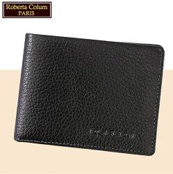 【Roberta Colum】諾貝達 男用皮夾 短夾 專櫃皮夾 進口軟牛皮短夾(黑色24006)【威奇包仔通】