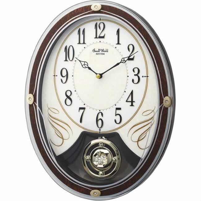 大高雄鐘錶城 RHYTHM 麗聲鐘 (4MJ437)  古典優雅時尚造型掛鐘/ 36.8cm 白