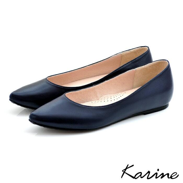 karine(MIT台灣製)全真皮尖頭內增高楔型鞋-暗藍