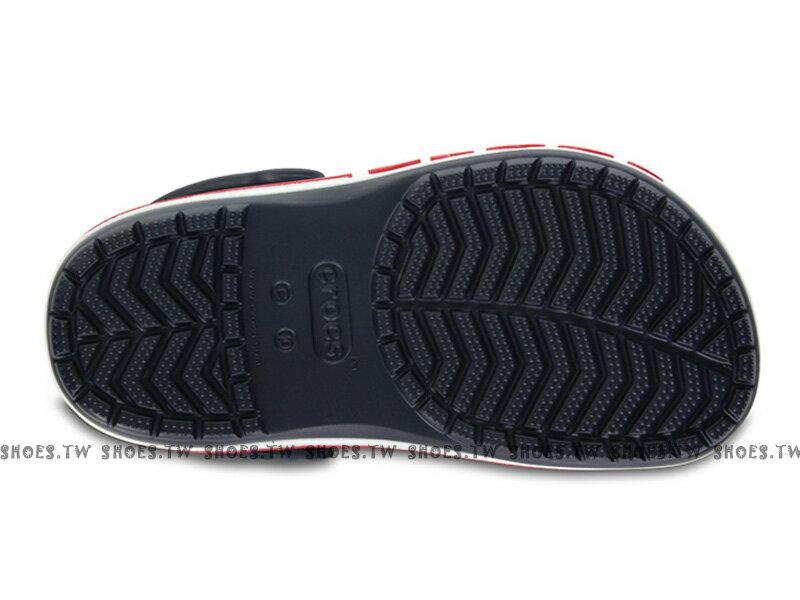 《CROCS出清69折》Shoestw【205100-410】CROCS 卡駱馳 鱷魚 輕便鞋 拖鞋 涼鞋 側LOGO 深藍白紅 童鞋款 1