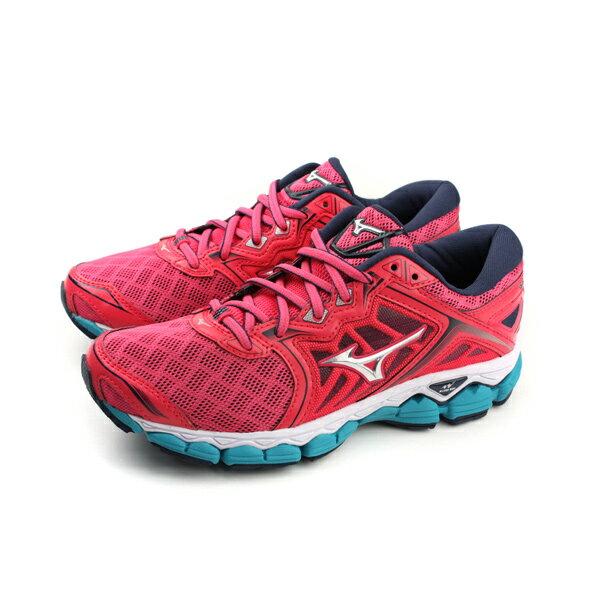 HUMAN PEACE:美津濃MizunoWAVESKY慢跑鞋運動鞋網布紅色女鞋J1GD170239no043