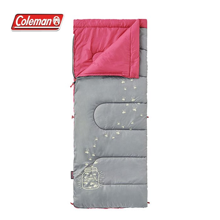 【露營趣】中和安坑 Coleman CM-22263 夜光型桃紅兒童睡袋/C7 纖維睡袋 中空纖維中空纖維 全開信封式