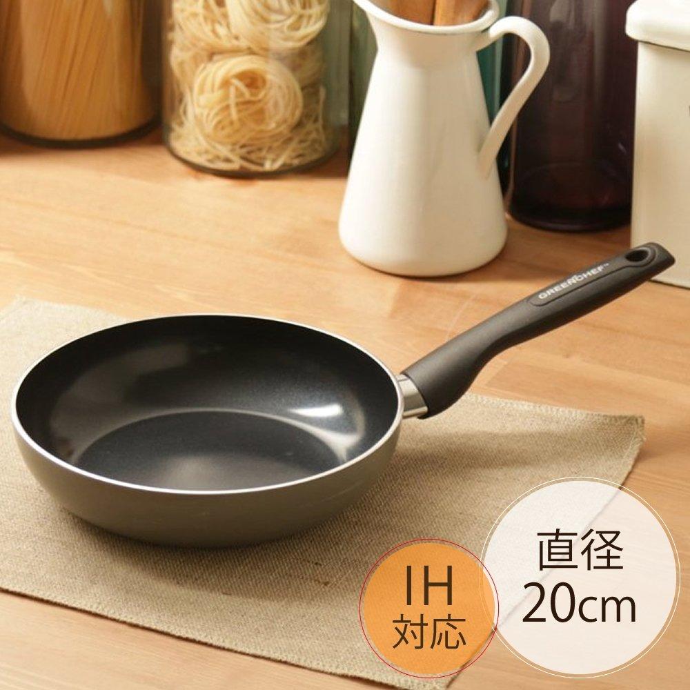 日本IRIS OHYAMA/GREEN CHEF 煎鍋 20公分 鑽石塗層陶瓷鍋 瓦斯爐、IH對應 平底鍋 GC-SW-20I