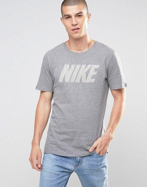 美國百分百【全新真品】Nike T恤 耐吉 短袖 T-shirt 運動 休閒 網格 logo 灰色 S號 I012