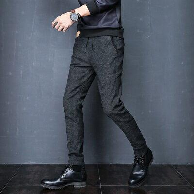 休閒長褲小腳褲-黑色有型彈力中腰男褲子73rc23【獨家進口】【米蘭精品】