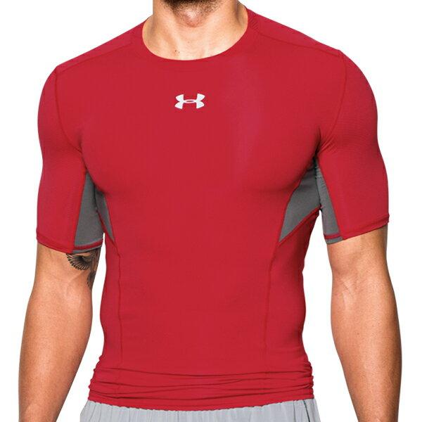 《UA出清一件$990》Shoestw【1271334-600】UNDER ARMOUR UA服飾 緊身衣 短袖 運動束衣 CoolSwitch 強力伸縮型 排汗透氣 紅灰 男生 0