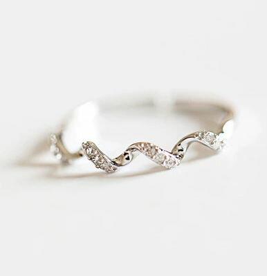 Tokyo Alice 925純銀波浪鋯石開口戒,韓系戒指飾品首飾銀飾甜美(sr0000039)