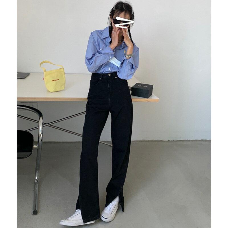 黑色腳口開叉直筒牛仔褲女2021春季韓版復古高腰顯瘦休閒褲