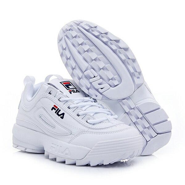 【滿額領券折$150】FILA DISRUPTOR 2 復古運動鞋 老爹鞋 鋸齒鞋 厚底增高 皮革 白藍 女生【4C113V125】