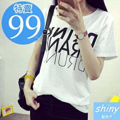 【D958】shiny藍格子-春季序曲.英文字母圓領短袖T恤