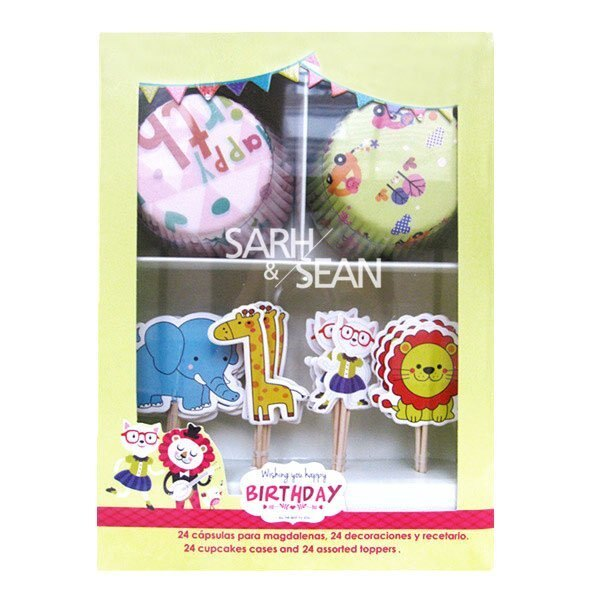=優 =動物系列大象 長頸鹿 獅子 貓咪防油蛋糕紙杯 裝飾插籤 插牌 套裝盒 蛋糕裝飾 2