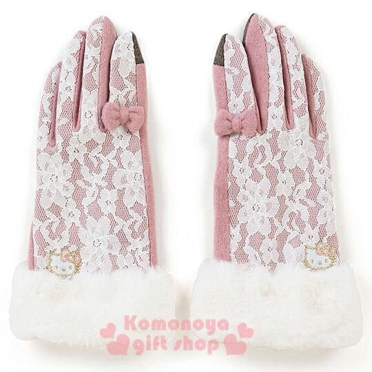 〔小禮堂〕 Hello Kitty手套《粉.大臉.蕾絲.金邊縫紉圖案》指尖特殊可觸控銀幕設計