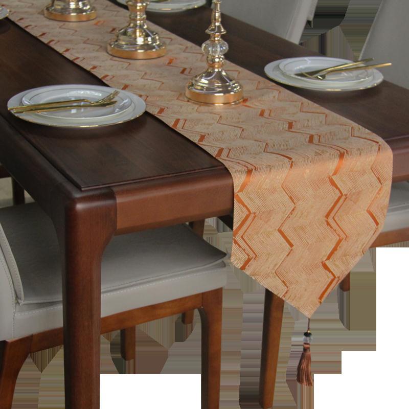 桌旗 餐桌旗輕奢風茶几電視櫃台布長條裝飾中式現代簡約北歐床旗床尾巾『CM42612』