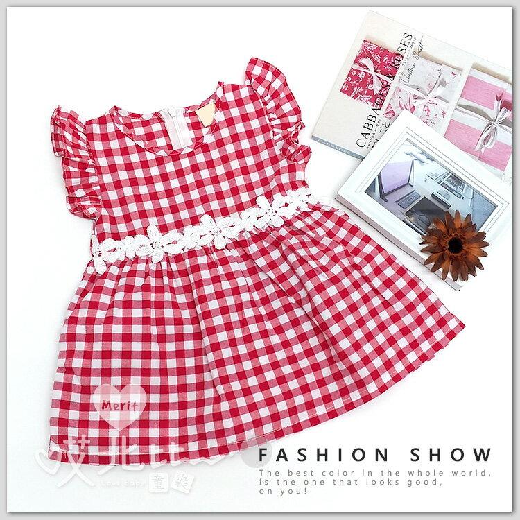 荷葉袖蕾絲花朵紅格棉麻洋裝 渡假 洋裝 連衣裙 連身裙 女童 清新 韓版 無袖 背心裙 可愛 甜美 格子 花邊 腰身