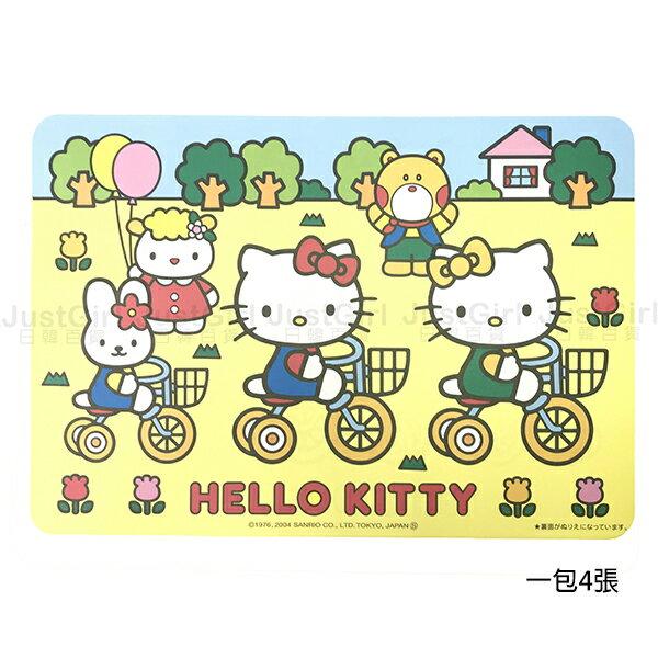 HELLO KITTY 紙餐墊 餐墊 桌墊 圖畫紙 4入 39元 居家 文具 正版日本製造進口 JustGirl