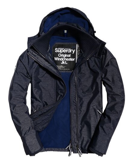 【蟹老闆】SUPERDRY 經典基本款 藍內裡 深藍色 防風外套 防潑水機能性風衣外套 有帽黑標 男款
