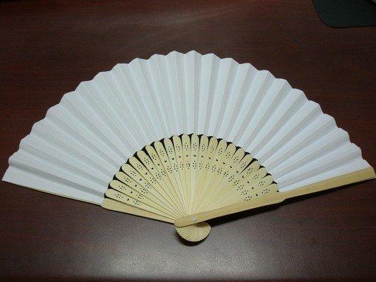 8英吋空白扇子 彩繪扇子 21cm 單面紙手繪扇/一支入{定30} 日本扇子 小紙摺竹片~5153