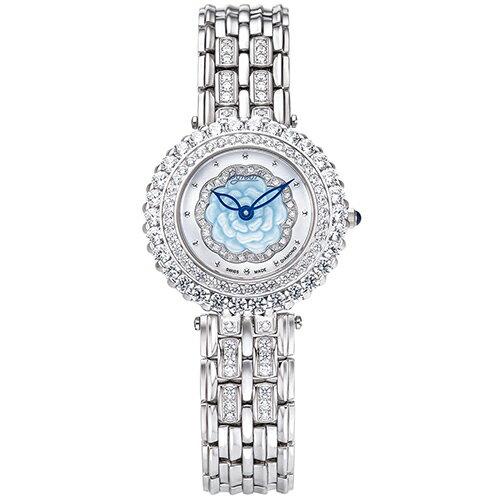Ogival愛其華 山茶花系列 愛戀綻花 真鑽 時尚腕錶 氣質銀 白貝殼面--305-33DJLW--30mm